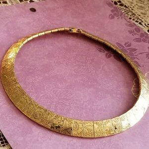 Vintage engraved floral collar necklace gold tone